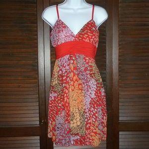 Red Orange Pink FOREVER Dress, Short Empire V-Neck